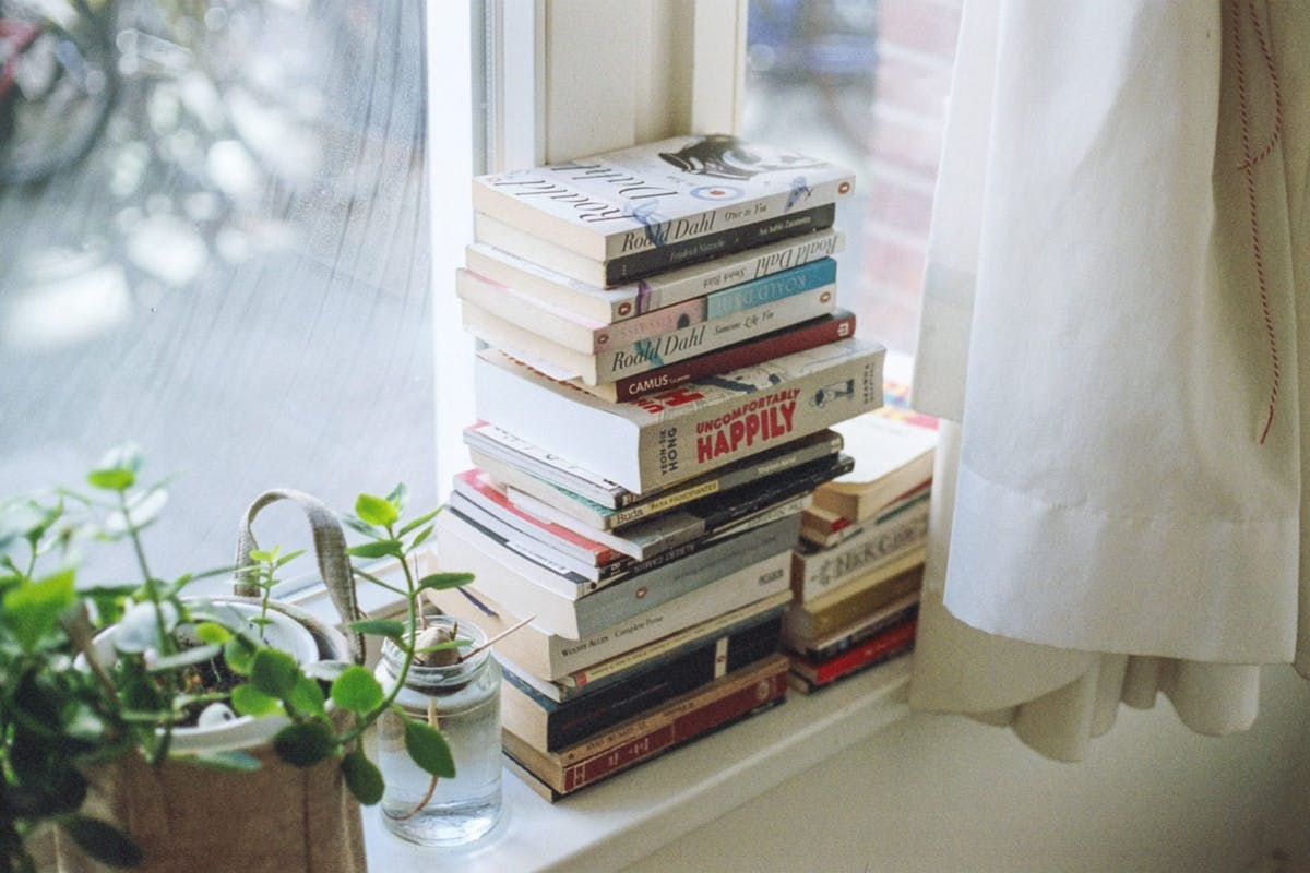 stack of books waitng to be read